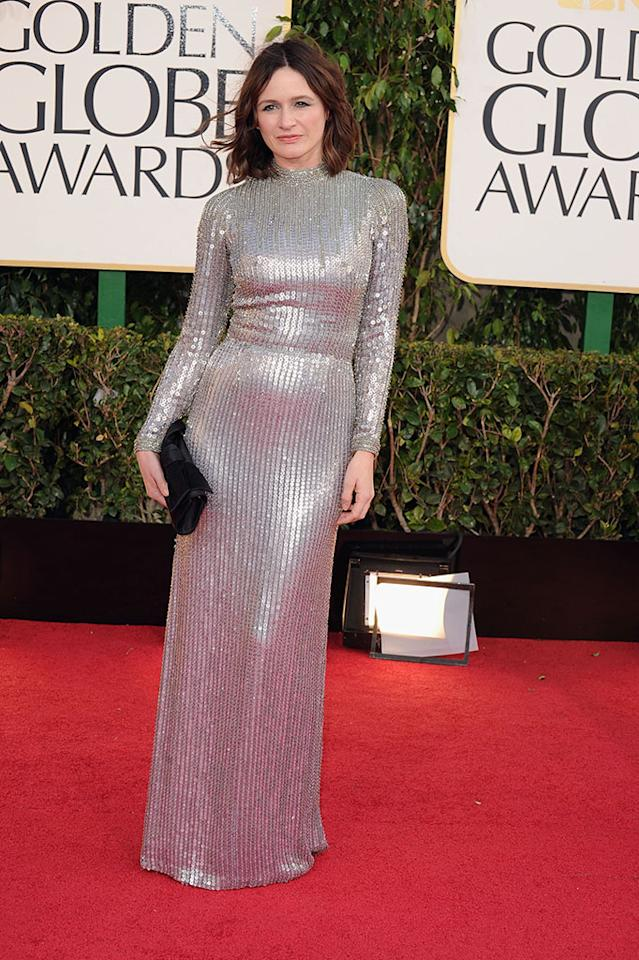 Emily Mortimer arrives at the 70th Annual Golden Globe Awards at the Beverly Hilton in Beverly Hills, CA on January 13, 2013.