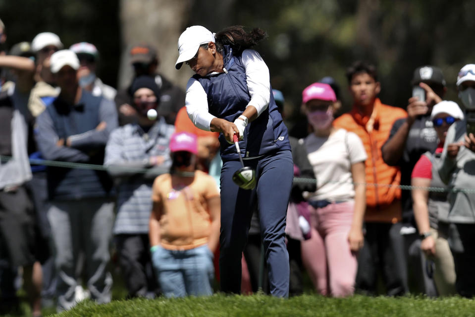 Megha Ganne plays her shot from the fourth tee during the final round of the U.S. Women's Open golf tournament at The Olympic Club, Sunday, June 6, 2021, in San Francisco. (AP Photo/Jed Jacobsohn)