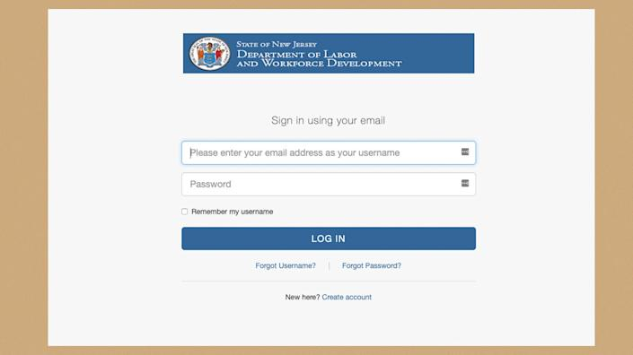 A screenshot of the login page for New Jersey's unemployment website. (Photo: New Jersey Department of Labor)