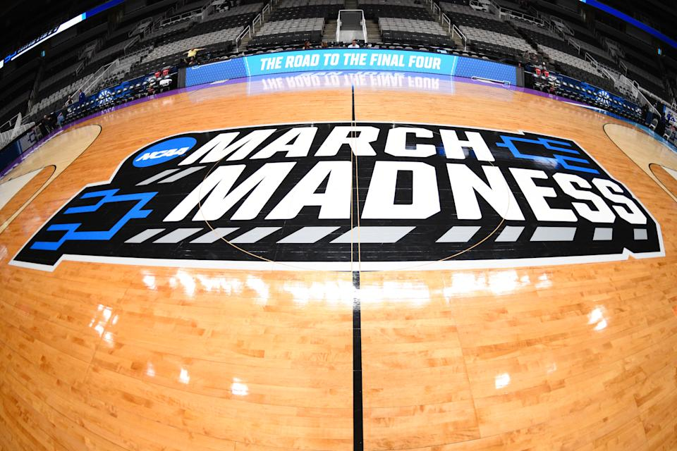 The March Madness logo is shown on the court before a NCAA tournament game on March 22, 2019. (Brian Rothmuller/Getty Images)