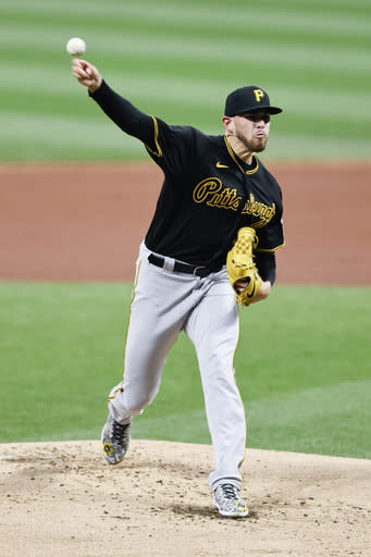 Pittsburgh Pirates starting pitcher Joe Musgrove delivers against the Cleveland Indians during the first inning of a baseball game, Saturday, Sept. 26, 2020, in Cleveland. (AP Photo/Ron Schwane)