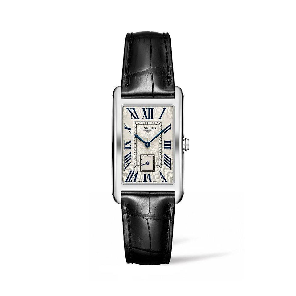 "<p><strong>Longines</strong></p><p>Longines</p><p><strong>$1250.00</strong></p><p><a href=""https://www.longines.com/"" rel=""nofollow noopener"" target=""_blank"" data-ylk=""slk:Shop Now"" class=""link rapid-noclick-resp"">Shop Now</a></p><p>Created in 1997, Longine's aptly named DolceVita piece is the perfect homage to the breezy Italian way of life. This year, the classic staple features an Art Deco style Dial and offers new leather strap options in white, black, blue, and golden colorways.</p>"