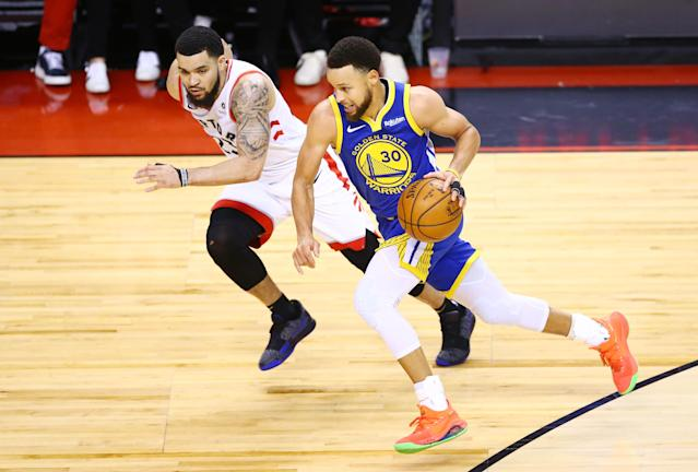Stephen Curry #30 of the Golden State Warriors is defended by Fred VanVleet #23 of the Toronto Raptors in the second half during Game Two of the 2019 NBA Finals at Scotiabank Arena on June 02, 2019 in Toronto, Canada. (Photo by Vaughn Ridley/Getty Images)