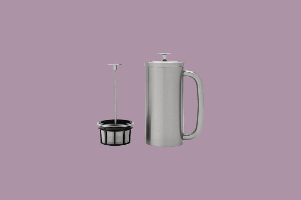 """<p>Stainless steel from top to bottom, this elegant <a href=""""https://www.marthastewart.com/7846613/coffee-makers-explained-french-press-drip-pour-over"""" rel=""""nofollow noopener"""" target=""""_blank"""" data-ylk=""""slk:French press"""" class=""""link rapid-noclick-resp"""">French press</a>, available in medium or large sizes, uses a unique two-filter system resulting in grit-free coffee (a bit of an anomaly for French press). It also makes oil-free coffee with the addition of paper filters between the micro filters.</p> <p><strong><em>Buy Now</em></strong><em>: Espro Stainless-Steel French Press, from $109.95, <a href=""""https://surlatable.aiy7.net/c/249354/635796/10190?subId1=MSLBrewingPerfectionOurShoppableGuidetotheBestCoffeeMakersvspence2FooGal7987783202009I&u=https%3A%2F%2Fwww.surlatable.com%2Fespro-stainless-steel-french-press-18oz%2F2808889.html"""" rel=""""nofollow noopener"""" target=""""_blank"""" data-ylk=""""slk:surlatable.com"""" class=""""link rapid-noclick-resp"""">surlatable.com</a>.</em></p>"""