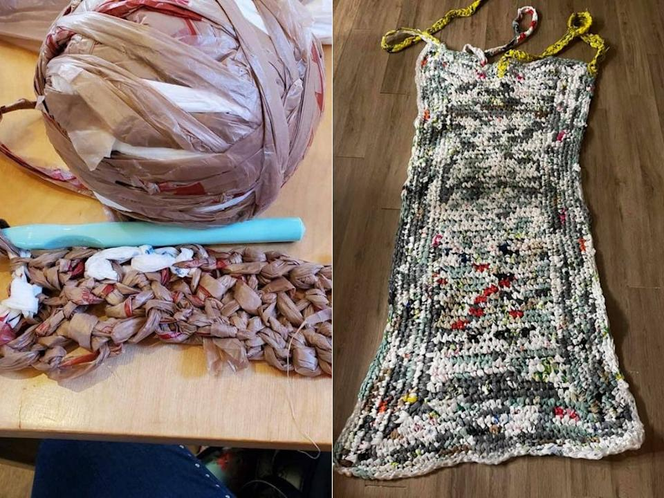 Waterloo, Ont. resident Kathy Kibble runs a Facebook group that crochets plastic bags into mats for people who sleep outdoors. (Photo: Courtesy of Kathy Kibble)