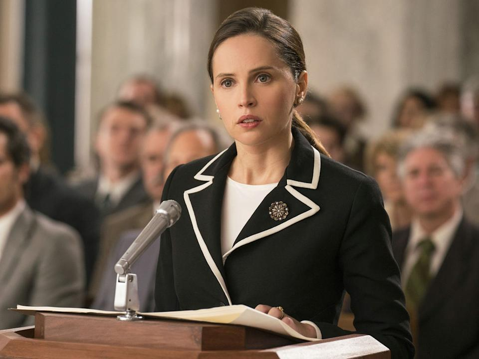 "Felicity Jones as Ruth Bader Ginsburg in ""On the Basis of Sex."""