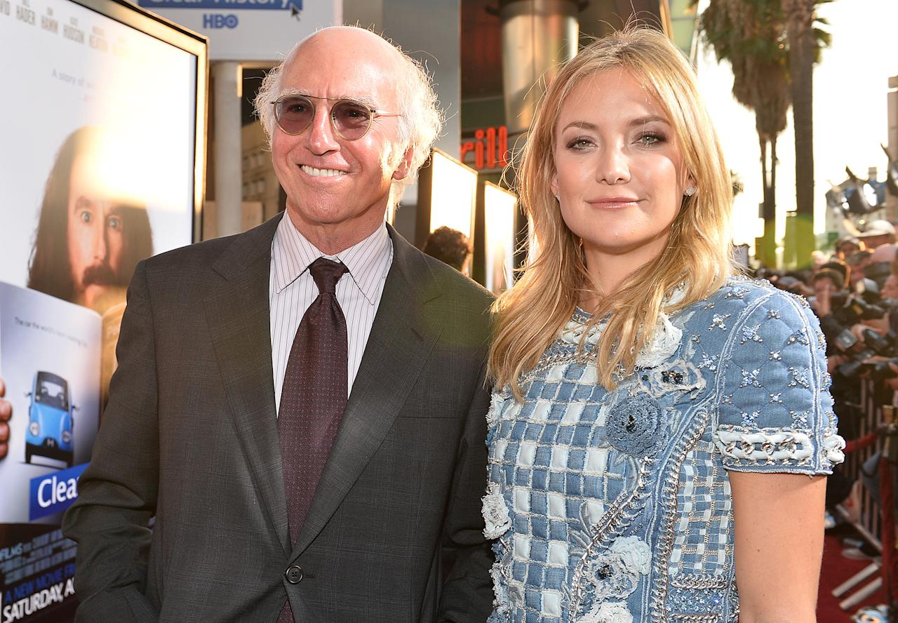 """Larry David and Kate Hudson arrive at the premiere of HBO Films' """"Clear History"""" at ArcLight Cinemas Cinerama Dome on July 31, 2013 in Hollywood, California.o"""