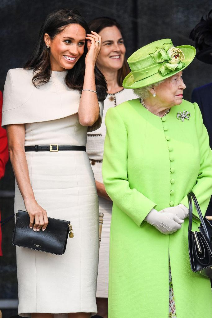 Samantha Cohen (behind) who was chosen by the Queen to guide Meghan Markle into royal life is also reported to be stepping down. Source: Getty