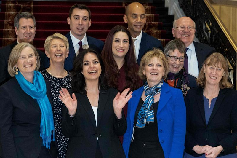 Change UK MPs pictured after defecting in February. The bloc was initially named the Independent Group (AFP/Getty Images)