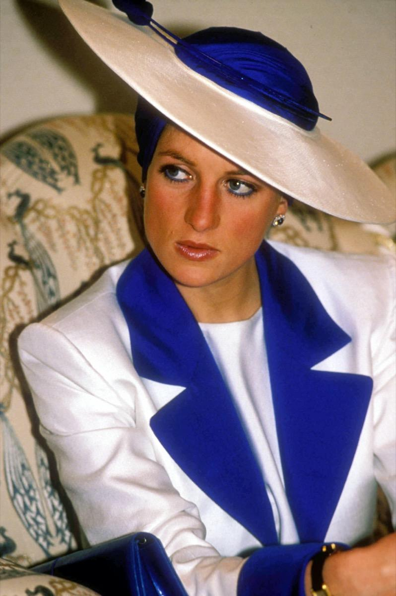 Princess Diana in blue and white hate and jacket in 1989