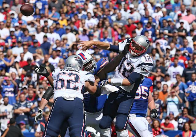 As a Buffalo Bill in 2013, Marcell Dareus got in Tom Brady's face in the regular season. (Getty Images)