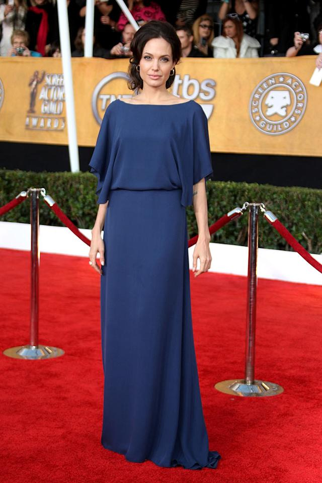 "<a href=""/angelina-jolie/contributor/30702"">Angelina Jolie</a> arrives at the <a href=""/the-15th-annual-screen-actors-guild-awards/show/44244"">15th Annual Screen Actors Guild Awards</a> held at the Shrine Auditorium on January 25, 2009 in Los Angeles, California."