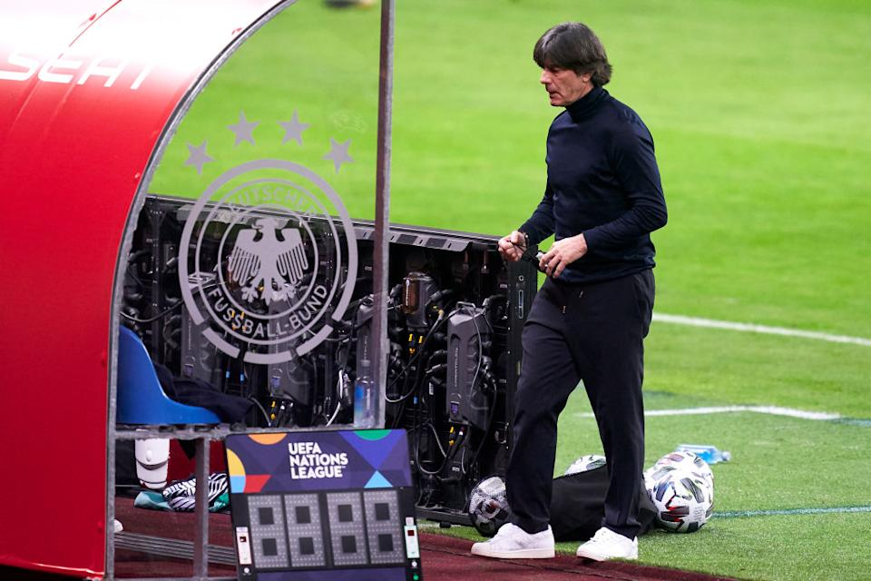 SEVILLE, SPAIN - NOVEMBER 17: Joachim Loew, Manager of Germany looks on during the UEFA Nations League group stage match between Spain and Germany at Estadio de La Cartuja on November 17, 2020 in Seville, Spain. (Photo by Mateo Villalba/Quality Sport Images/Getty Images)