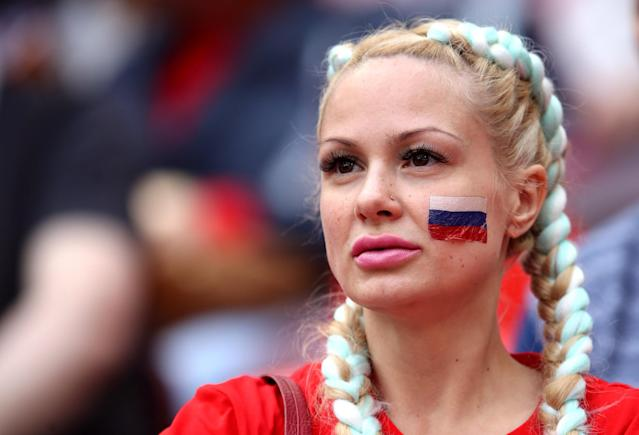 A Russia fan in the stands ahead of the opening fixture between Russia and Saudi Arabia. (PA)