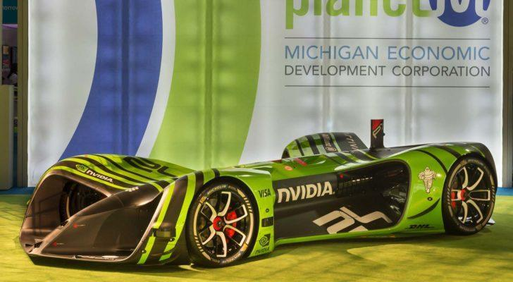 A racecar featuring Drive PX 2 technology from Nvidia (NVDA) parked.