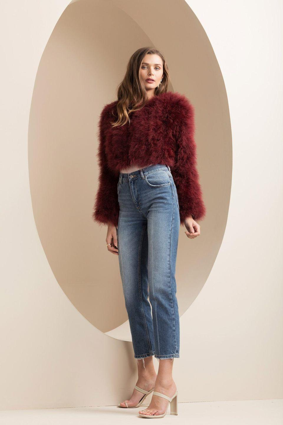 "<p>bubishluxe.us</p><p><strong>$345.00</strong></p><p><a href=""https://bubishluxe.us/collections/jackets-1/products/manhattan-feather-jacket-burgundy"" rel=""nofollow noopener"" target=""_blank"" data-ylk=""slk:Shop Now"" class=""link rapid-noclick-resp"">Shop Now</a></p><p>Cropped, up-cycled marabou feather in a rich wine hue? We won't say no to it. </p>"
