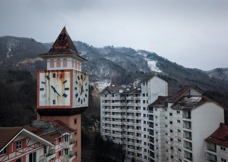 A rusty clock tower looms over the disused Alps Ski Resort, a former holiday destination in South Korea's far northeast close to the Demilitarized Zone