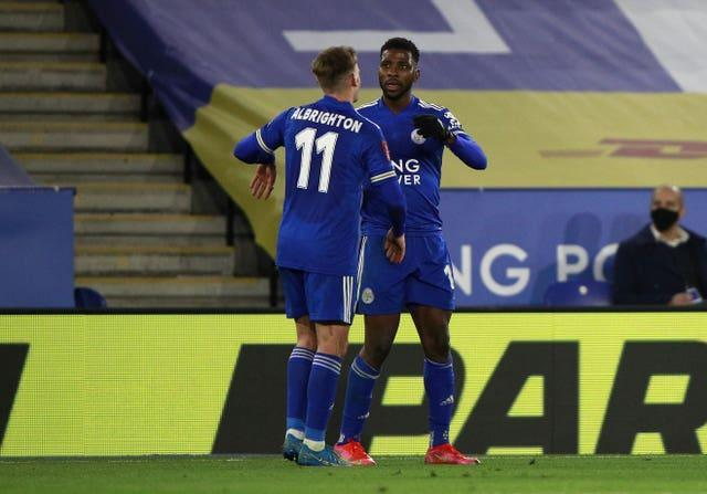 Kelechi Iheanacho, right, bagged a brace as Leicester defeated Manchester United to reach the FA Cup semi-finals for the first time since 1982 (Ian Walton/PA)