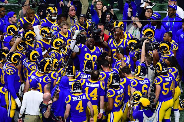 <p>Michael Brockers #90 of the Los Angeles Rams huddles with his team in the first quarter against the New England Patriots during Super Bowl LIII at Mercedes-Benz Stadium on February 03, 2019 in Atlanta, Georgia. (Photo by Scott Cunningham/Getty Images) </p>