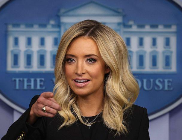 PHOTO: White House Press Secretary Kayleigh McEnany holds her first on-camera news conference in the James Brady Press Briefing Room at the White House, May 01, 2020, in Washington. (Chip Somodevilla/Getty Images)