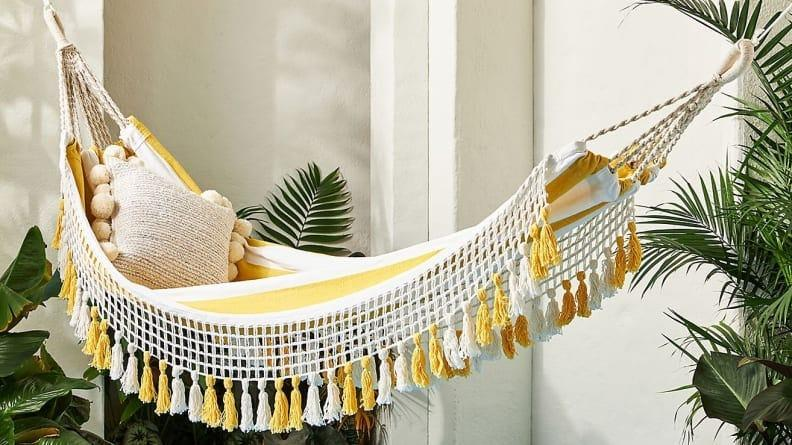Add some sunshine to your decor with this bright hammock.