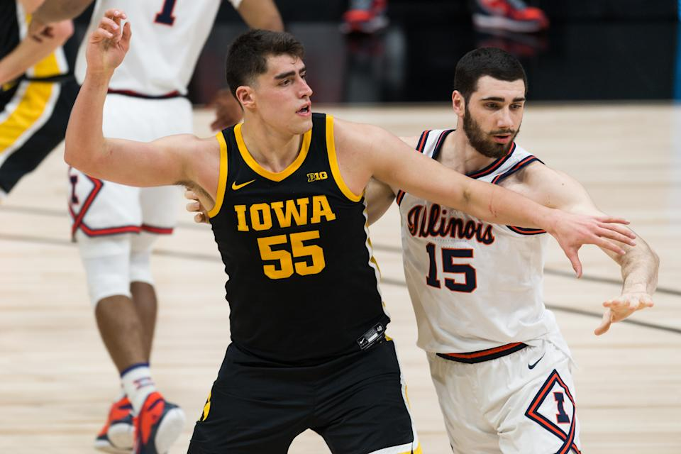 The Iowa Hawkeyes and center Luka Garza (55) would likely have to go through Gonzaga to reach the Final Four. (Photo by Zach Bolinger/Icon Sportswire via Getty Images)