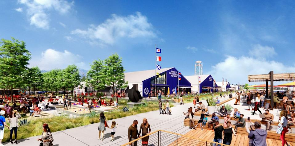 A rendering shows people eating, drinking and walking at an outdoor complex on a sunny day