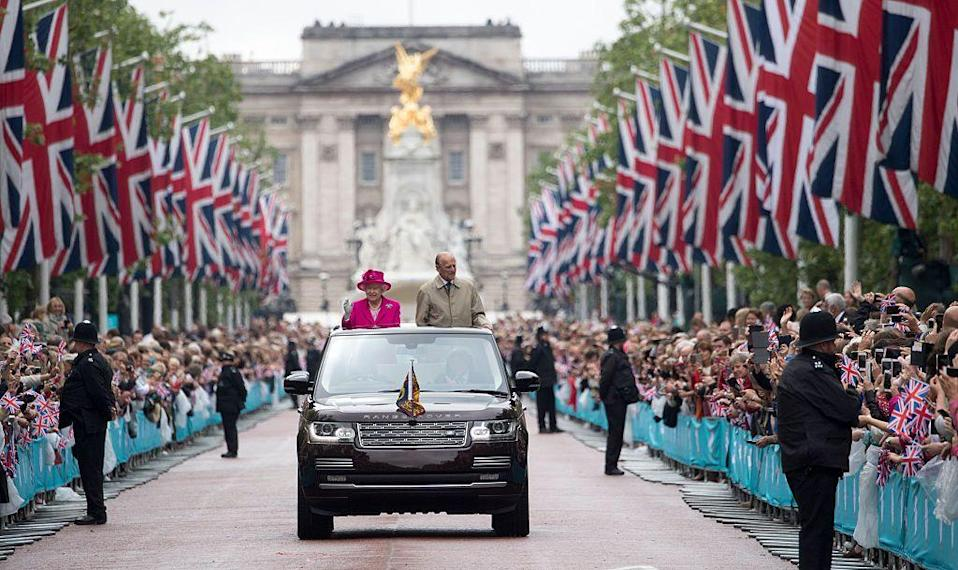 """<p>The event is known as Trooping the Colour, and famously features the royal family taking part in a procession through London and waving from the Buckingham Palace balcony.<br></p><p><em>More: <a href=""""https://www.townandcountrymag.com/society/tradition/news/a6410/why-does-the-queen-have-two-birthdays/"""" rel=""""nofollow noopener"""" target=""""_blank"""" data-ylk=""""slk:Why Does Queen Elizabeth Have Two Birthdays?"""" class=""""link rapid-noclick-resp"""">Why Does Queen Elizabeth Have Two Birthdays?</a></em></p>"""