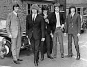 A photo of the Rolling Stones in July 1965 shows from left to right drummer Charlie Watts, guitarist Brian Jones, guitarist Keith Richards, singer Mick Jagger and bass guitarist Bill Wyman