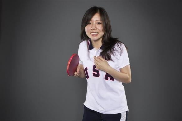 Table tennis player Ariel Hsing poses for a portrait during the 2012 U.S. Olympic Team Media Summit in Dallas, May 13, 2012.