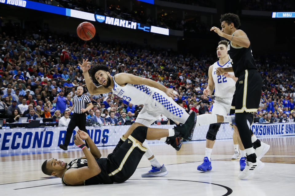 <p>Kentucky Wildcats forward EJ Montgomery (23) shoots the ball during a game against the Wofford Terriers at VyStar Veterans Memorial Arena on March 23, 2019 in Jacksonville, Florida. (Photo by Matt Marriott/NCAA Photos via Getty Images) </p>