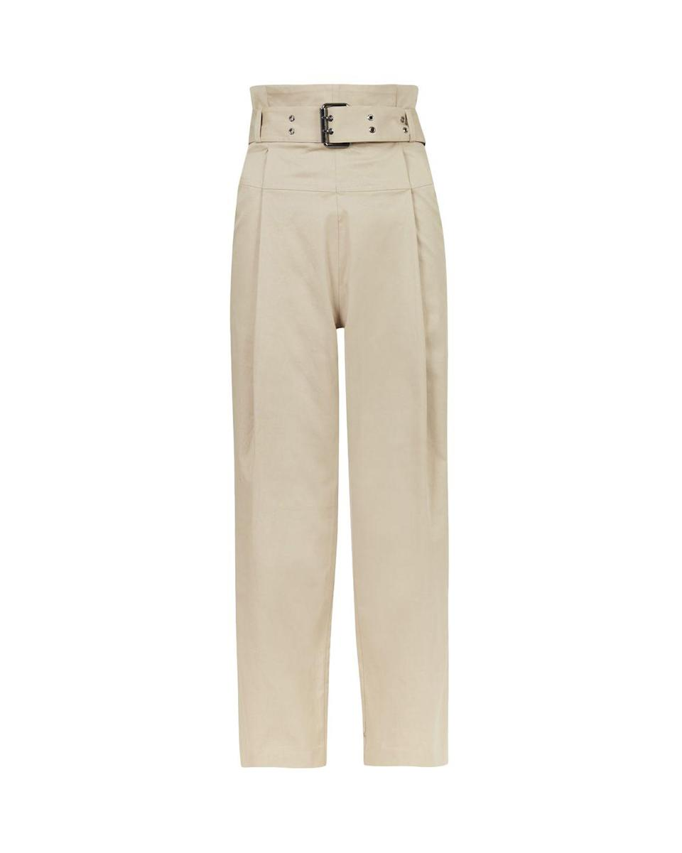 """<p>AllSaints belted cotton trousers – £149.00</p><p><a class=""""link rapid-noclick-resp"""" href=""""https://go.redirectingat.com?id=127X1599956&url=https%3A%2F%2Fwww.allsaints.com%2Fwomen%2Ftrousers-and-leggings%2Fallsaints-ali-trouser%2F%3Fcolour%3D3975%26category%3D823&sref=https%3A%2F%2Fwww.elle.com%2Fuk%2Ffashion%2Fwhat-to-wear%2Farticles%2Fg31862%2Fthe-10-items-you-need-in-your-capsule-holiday-wardrobe%2F"""" rel=""""nofollow noopener"""" target=""""_blank"""" data-ylk=""""slk:SHOP NOW"""">SHOP NOW</a></p><p>This season we're borrowing from men's wardrobes and welcoming the good old fashioned slack/chino/work trouser into our wardrobes. Made from beige or tan cotton, they're much hardier than <a href=""""https://www.elle.com/uk/fashion/what-to-wear/g28334407/best-linen-dresses/"""" rel=""""nofollow noopener"""" target=""""_blank"""" data-ylk=""""slk:linen designs"""" class=""""link rapid-noclick-resp"""">linen designs</a> and require less ironing, so a real winner when you're packing for staycations or trips abroad. Make like <a href=""""https://www.elle.com/uk/fashion/celebrity-style/articles/g2543/kendall-jenner/"""" rel=""""nofollow noopener"""" target=""""_blank"""" data-ylk=""""slk:Kendall Jenner"""" class=""""link rapid-noclick-resp"""">Kendall Jenner</a> during the day with an unbuttoned shirt, then switch to a bodysuit and strappy sandals for evenings out.</p>"""