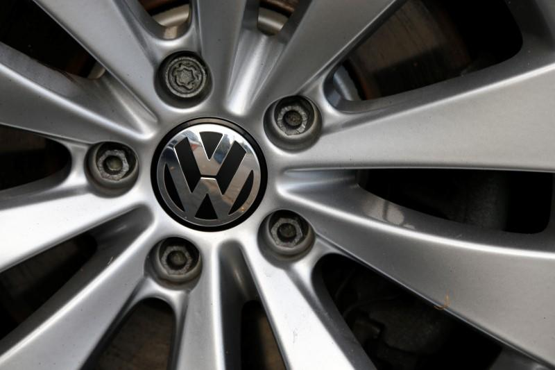 The VW logo is pictured on a wheel of a Volkswagen car at a car shop in Bad Honnef