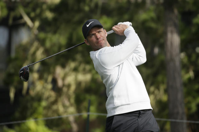 Paul Casey, of England, follows his drive from the 18th tee of the Spyglass Hill Golf Course during the third round of the AT&T Pebble Beach Pro-Am golf tournament, Saturday, Feb. 9, 2019, in Pebble Beach, Calif. (AP Photo/Eric Risberg)