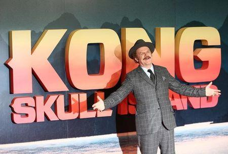 Actor John C Reilly poses for photographers at the European Premiere of Kong: Skull Island in London