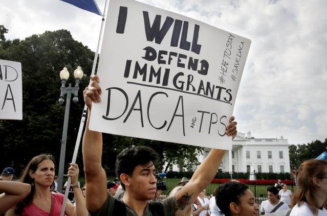 <p>Diego Rios, 23, of Rockville, Md., rallies in support of the Deferred Action for Childhood Arrivals program, known as DACA, outside of the White House, in Washington, Tuesday, Sept. 5, 2017. (Photo: Jacquelyn Martin/AP) </p>