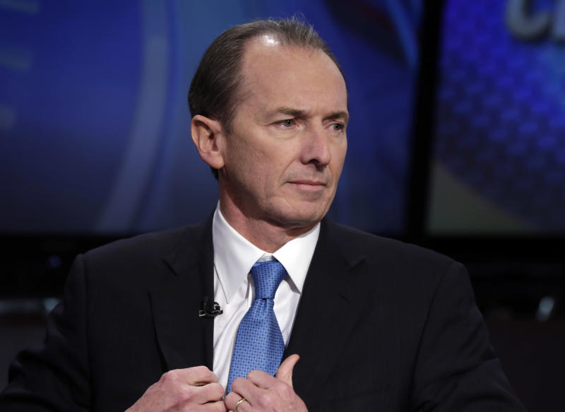 FILE - In this Friday, Jan. 18, 2013, file photo, Morgan Stanley CEO James Gorman is interviewed by Senior Correspondent Charlie Gasparino on the Fox Business Network, in New York. Fresh off closing its purchase of brokerage firm Smith Barney from Citigroup, a yearslong process that has been central to Gorman's plan to reshape Morgan Stanley, the New York bank said Thursday, July 18, 2013, that it will buy back up to $500 million of its own shares, news that surprised investors and helped boost the share price by 4 percent. (AP Photo/Richard Drew)