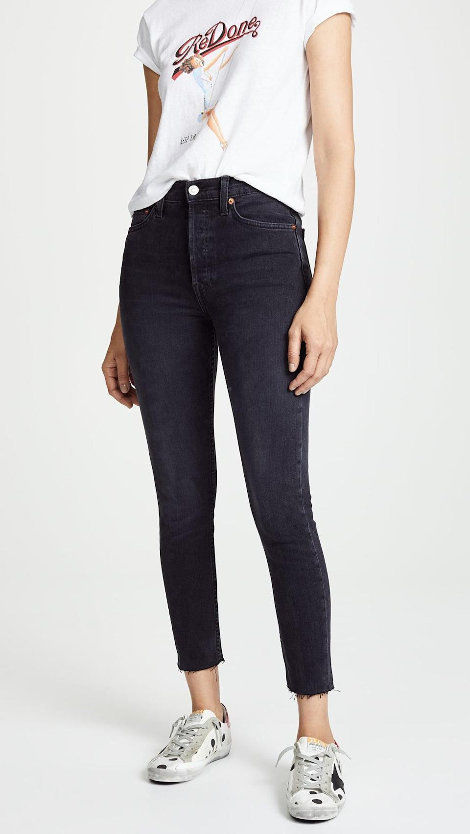 <p><span>RE/DONE High Rise Ankle Crop Jeans</span> ($250) contour to your shape, hitting perfectly above the ankle.</p>
