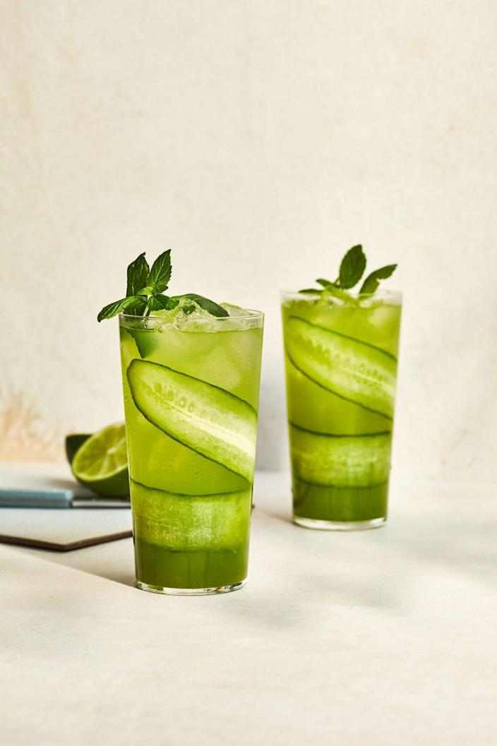 """<p><strong>Recipe: <a href=""""https://www.southernliving.com/recipes/cucumber-mint-mojito"""" rel=""""nofollow noopener"""" target=""""_blank"""" data-ylk=""""slk:Cucumber Mint Mojito"""" class=""""link rapid-noclick-resp"""">Cucumber Mint Mojito</a></strong></p> <p>Mint and cucumber come together to create a cool, refreshing flavor. </p>"""