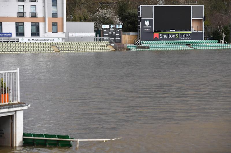 A flooded New Road Cricket Ground in Worcester, as a third consecutive weekend of stormy weather is bringing further flooding misery to already sodden communities.