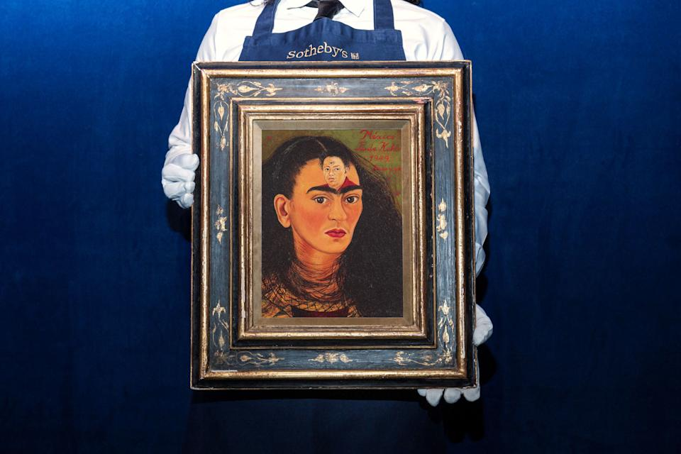 An undated photo released on September 22, 2021 courtesy of Sotheby's New York shows a Frida Kahlo self-portrait entitled 'Diego y yo'. Sotheby's hopes to exceed US$ 30 million when it's auctioned, with a 1940's self-portrait of the legendary Mexican painter Frida Kahlo, where her husband Diego Rivera also appears, at the November auction in New York, which would set the record for a Latin American work.  - RESTRICTED TO EDITORIAL USE - MANDATORY CREDIT