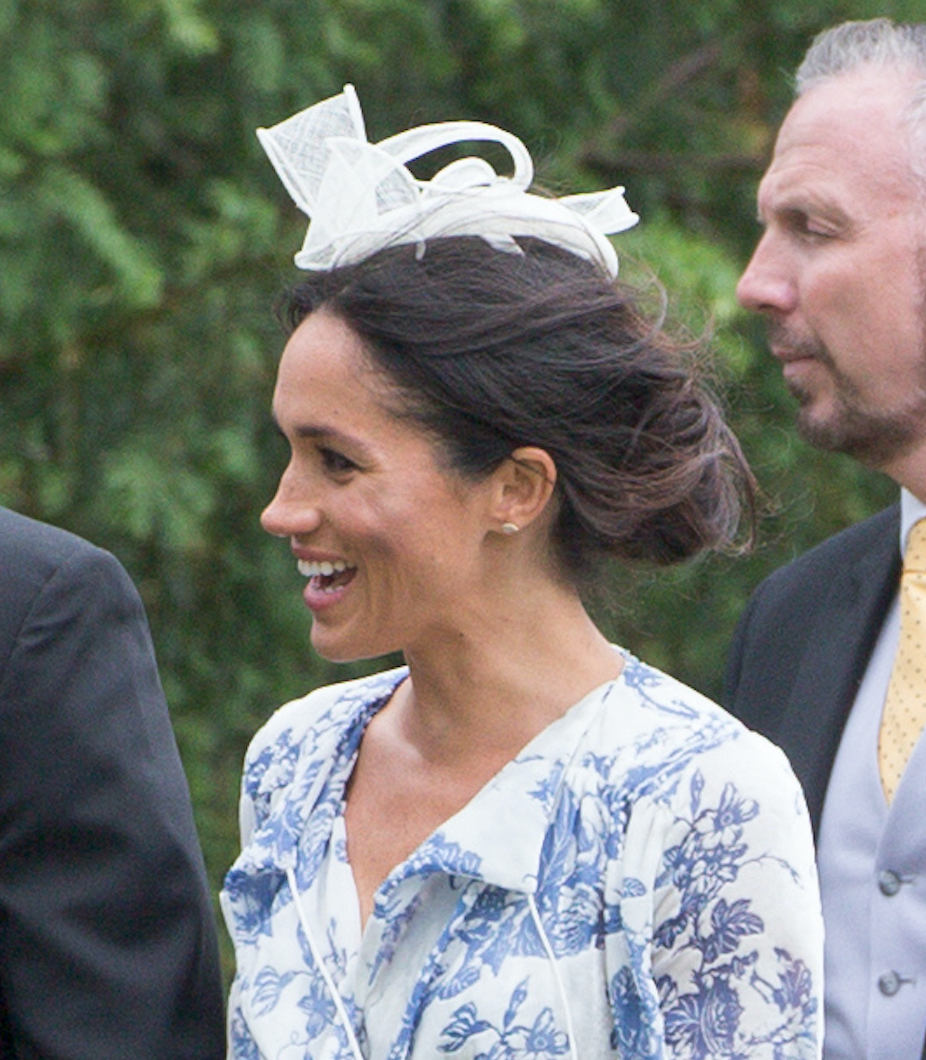 """<p>On Saturday 16 June 2018, the Duchess of Sussex wore her most divisive look to date in a toile-emblazoned Oscar de la Renta dress. The occasion was Prince Harry's cousin Celia McCorquodale and George Woodhouse's nuptials so Meghan of course stepped her fashion game up a notch. But while Twitter debated her latest look, we were left in awe of her accessories choice. For her debut British wedding, Meghan chose a pillowbox fascinator by Marks and Spencer. Oh, she's a girl after our own heart. <a rel=""""nofollow noopener"""" href=""""https://www.marksandspencer.com/pillbox-bow-fascinator/p/p60151341?image=SD_01_T01_4950Q_F0_X_EC_90&color=NAVY&prevPage=plp&pdpredirect&source=affwindow&extid=af_a_Content_201309_http://www.independent.co.uk/&comgp=201309&cvosrc=affiliate.aw.201309&awc=1402_1529407109_744a010e98d5bae9eed4c361f34a5fcf"""" target=""""_blank"""" data-ylk=""""slk:Shop now"""" class=""""link rapid-noclick-resp""""><em>Shop now</em></a>. </p>"""