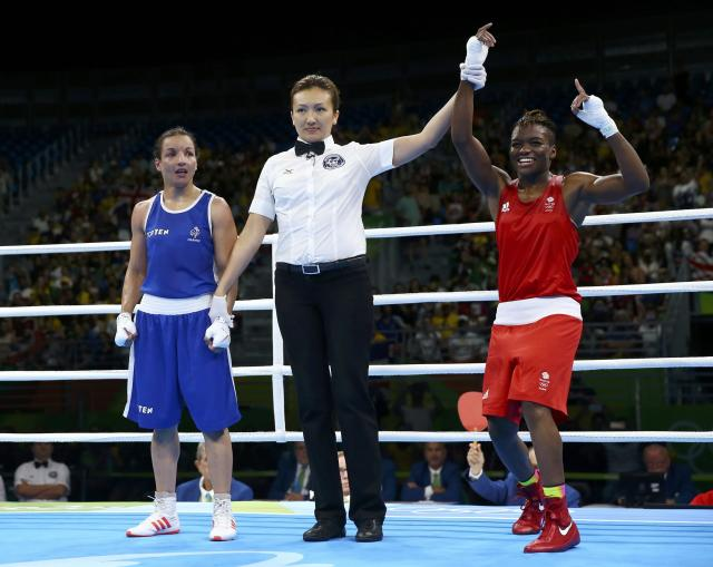 2016 Rio Olympics - Boxing - Final - Women's Fly (51kg) Final Bout 267 - Riocentro - Pavilion 6 - Rio de Janeiro, Brazil - 20/08/2016. Nicola Adams (GBR) of Britain celebrates after winning her bout against Sarah Ourahmoune (FRA) of France. REUTERS/Peter Cziborra FOR EDITORIAL USE ONLY. NOT FOR SALE FOR MARKETING OR ADVERTISING CAMPAIGNS.