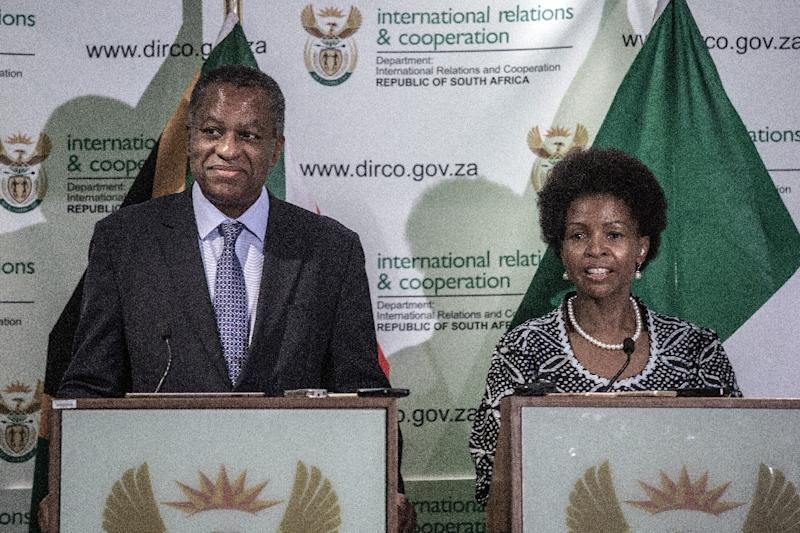 South African foreign minister Maite Nkoana-Mashabane and her Nigerian counterpart Geoffrey Onyeama are launching a system to deter xenophobic attacks on migrants (AFP Photo/GIANLUIGI GUERCIA)