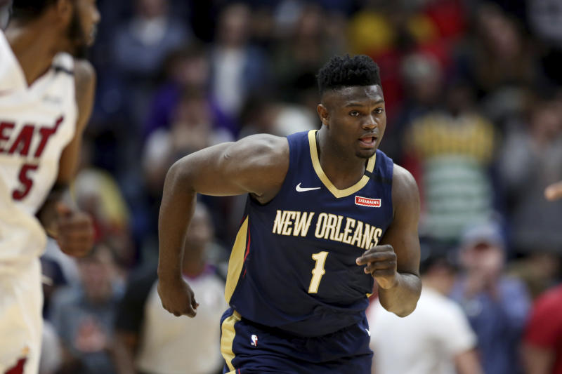 New Orleans Pelicans forward Zion Williamson teased an improved game thanks to work in the NBA's hiatus. (AP Photo/Rusty Costanza)