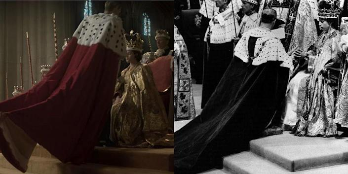 <p>For Prince Philip's coronation robe, the show continued to stay true to reality. Matt Smith donned a heavy red velvet and fur-trimmed robe, and the director captured the same angle that was shot in the real life footage. </p>