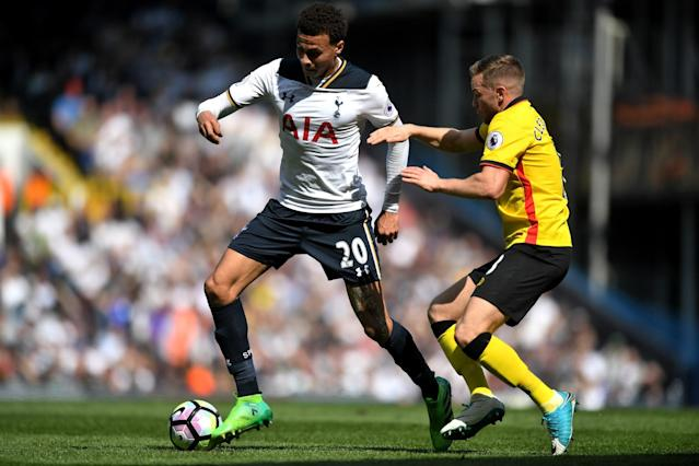<p>Dele Alli taunts the Watford defence </p>
