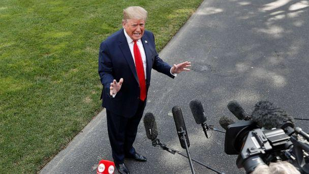 PHOTO: President Donald Trump speaks to the media about the testimony of White House Special Counsel Robert Mueller to Congress, July 24, 2019, outside the White House. (Jacquelyn Martin/AP)