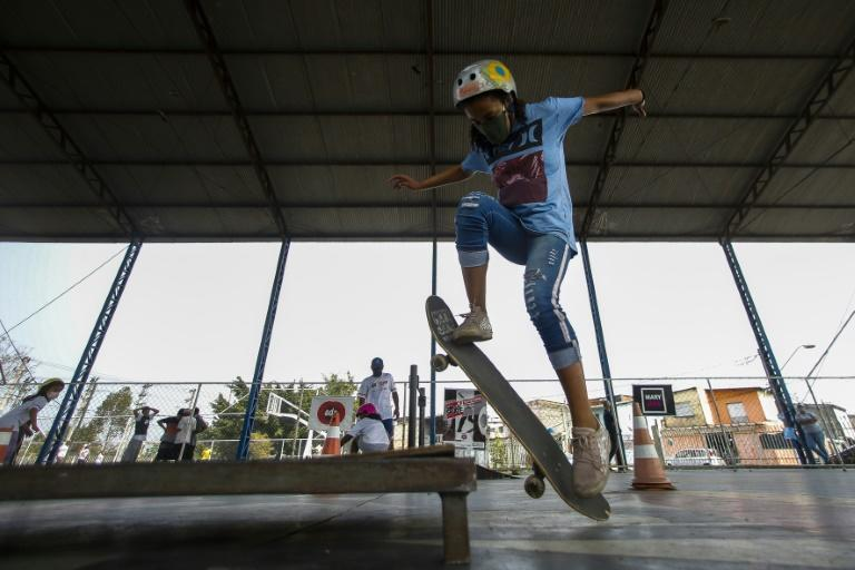 Young girls are embracing skateboarding in Brazil in the wake of the silver medal Olympic performance by their compatriot Rayssa Leal, at age 13 (AFP/Miguel SCHINCARIOL)