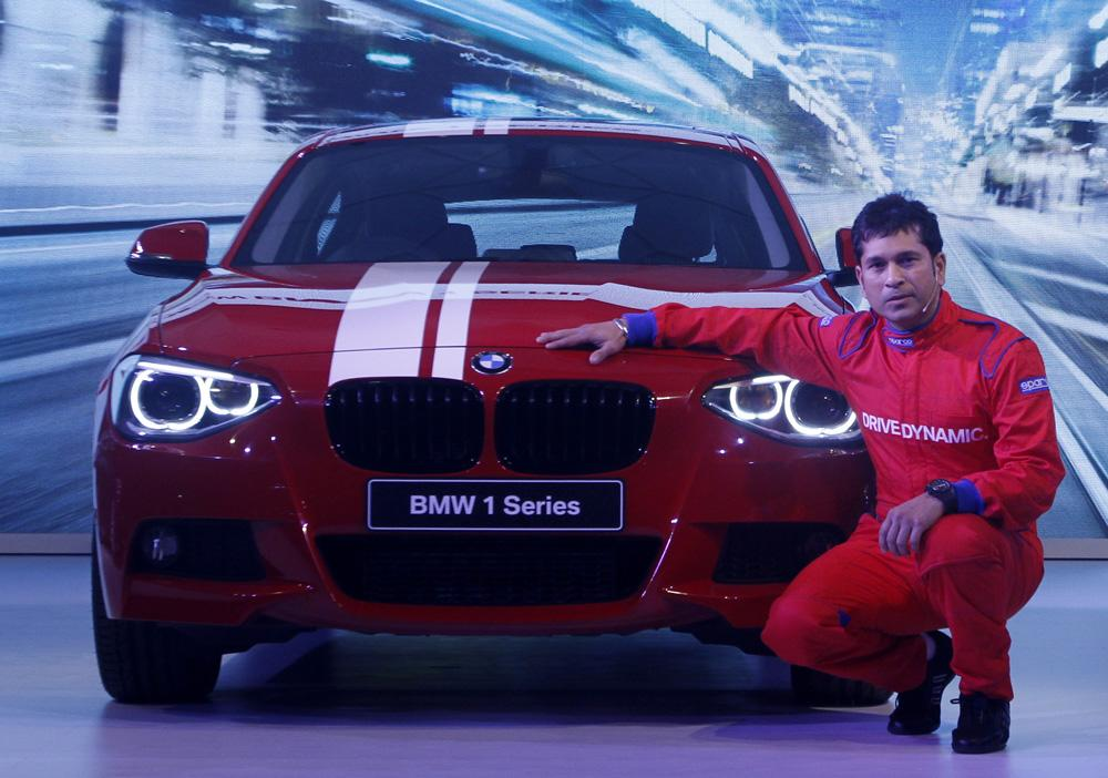 MUMBAI, INDIA - SEPTEMBER 3: Indian cricketer Sachin Tendulkar during the launch of entry-level BMW 1-Series hatchback on September 3, 2013 in Mumbai, India. The new hatchback by German luxury automobile manufacturer will come in petrol and diesel variants priced between Rs.20.90 lakh and Rs.29.90 lakh. (Photo by Kunal Patil/Hindustan Times via Getty Images)